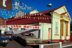 Second-hand car dealership, Auckland, 1970s
