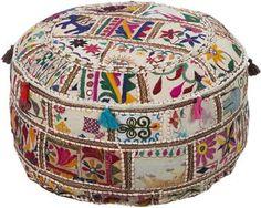 Satara Patchwork Pouf - Ottomans - Living Room - Furniture | HomeDecorators.com