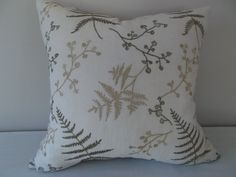 This Green, Gold Embroidered Floral, Fern Decorative Pillow Cover, features Golden and Olive Green Ferns and Flowers on Vines with a Solid Muted Gold Back.   This is a Beautiful Linen Botanical Accent Pillow that will look gorgeous on any Sofa, Chair or Bed in your Home.