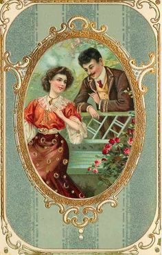Vintage couple, old postcard. Victorian Valentines, Vintage Valentine Cards, Vintage Greeting Cards, Victorian Pictures, Vintage Pictures, Vintage Images, Vintage Labels, Vintage Ephemera, Vintage Paper