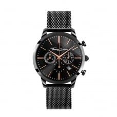 #JohnGreed | Thomas Sabo | Mens Eternal Rebel Black Onyx & Black Ion Plated Stainless Steel Chronograph Watch WA0247-202-203