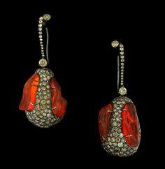 Arunashi Fire Opal and Diamond Egg Earring Drops