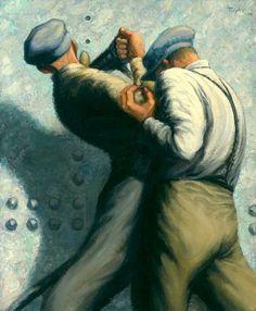 Frederick B. Taylor (Canada, 1906-1987) – Rivetage d'une coque (1945) Beverbrook Collection of War Art Musée canadien de la guerre, Ottawa