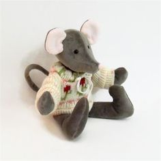 Plush Gray Mouse, OOAK Collectible Dressed Mouse Doll, Mouse Plushie