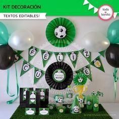 Fútbol: decoración de fiesta para imprimir Soccer Birthday Parties, Football Birthday, Soccer Party, 90th Birthday, Soccer Decor, Batman Party, Birthday Decorations, Party Themes, Ideas Originales