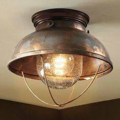 Cabelas  Fisherman's Ceiling Light, Weathered Copper to replace nipple lights (wait, that's from Cabelas????)