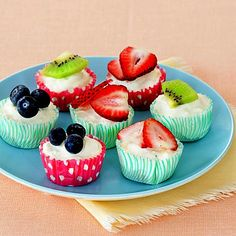 Fruity Frozen Yogurt Cups!!    Ingredients: Yoplait Light Yogurt     Fresh Fruit     Mini Cupcake Liners     Aluminum foil    Add 2 tablespoons of yogurt in a mini cupcake liners. (Helps to keep them in a mini cupcake cooking pan as well) Cover with foil and Place in freezer until frozen. Cut slices of fresh fruit for the topping.    Calories 1 Frozen Cup (13 calories)