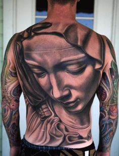 La Pieta back piece done in black and grey by Nikko Hurtado. This guy is amazing! Heidnisches Tattoo, Tattoo Crane, Backpiece Tattoo, Pagan Tattoo, 3d Tattoos, Great Tattoos, Beautiful Tattoos, Body Art Tattoos, Tattoos For Guys