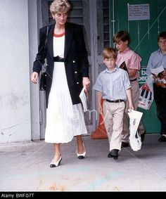 17th July 1991 Diana Princess Of Wales Leaving Earls Court This Afternoon With Prince Harry Centre