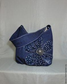 Женские сумки ручной работы. Ярмарка Мастеров - ручная работа. Купить Сумка джинсовая Полночный цветок. Handmade. Тёмно-синий