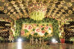 The tasteful and sophisticated decor at Anirudh Kankatala's engagement reflected the attention to detail and class of all Kankatala events. The backdrop was created from fresh flowers and petals and was inspired by the floral jaal patterns found on some of their sophisticated Jamdani sarees. Organza was used to cover chairs - beautiful and royal. Decor Credits: Lakshmi Prasanna, Hyderabad. #Engagement #Kankatalafamily #Kankatala