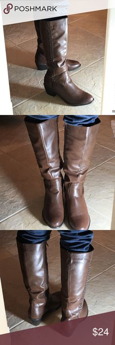 "Nicole brown boots. Size 8 1/2 Love these but too big. Man made vegan leather. Inside zipper. 2"" heel. Very comfortable. Nicole Shoes Heeled Boots"