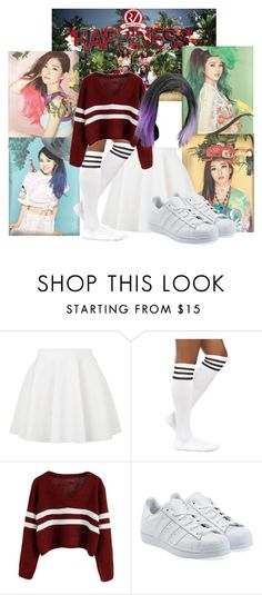 """Me in Red Velvet Happiness"" by schnpri ❤ liked on Polyvore featuring Topshop, adidas Originals, kpop, Happiness, girlgroup, redvelvet and kpopoutfits"