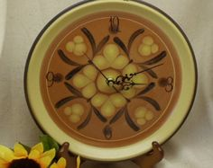 Check out Upcycled Dinner Plate Wall Kitchen Clock, Brown and Yellow Theme Wall Clock, Nitto Stoneware plate, Safari Pattern,C6055 on ckdesignsforyou
