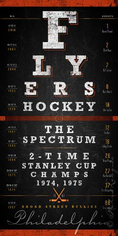 Philadelphia Flyers Eye Chart - Center Ice Series - Free Customization - Perfect Valentines, Birthday and Anniversary - Unframed Prints philadelphia flyers, sport flyers, eye chart