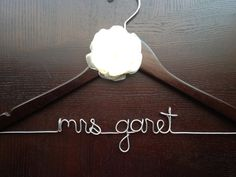 Walnut personalised Hanger with handmade flower by HandcraftedAffairs on Etsy