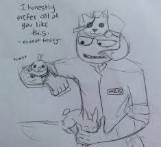 fnaf mike -- I love how Foxy is under Mike's hat, and Bonnie is just hanging out in his lap :)