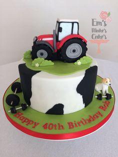 Farmer Birthday Cake, Tractor Birthday Cakes, Happy 40th Birthday, 40th Birthday Cakes, Cupcake Cakes, Cupcakes, Farm Cake, Cake Creations, Cake Decorating