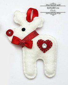 Dekorácie - Vianočný sobík biely - 4657860_