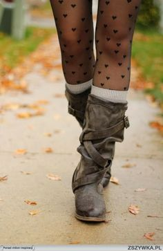 MODE THE WORLD: Distressed Leather Long Boots With Heart Print Leggings