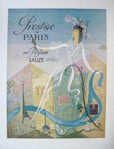 """Sauze Perfume Ad """"Prestige de Paris"""" 1947 - PERFUME ADS - Vintage Fashion Publications"""