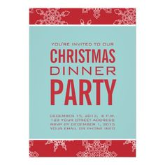 Shop Blue, Red Christmas Dinner Party Invitation created by zazzleoccasions. Personalize it with photos & text or purchase as is! Cocktail Party Invitation, Dinner Party Invitations, Invitation Ideas, Custom Invitations, Invites, Christmas Cocktail Party, Christmas Cocktails, Holiday Parties, Christmas Dinner Invitation