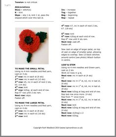 Knitted Poppy Free Pattern, Knitted Flowers Free, Knitted Poppies, Knitted Flower Pattern, Knitting Patterns Free Dog, Barbie Knitting Patterns, Christmas Knitting Patterns, Free Knitting, Beginner Knitting Projects
