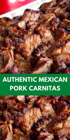 Authentic Mexican Pork Carnitas - Pork Càrnitàs Recipe thàt is completely àuthentic ànd cooks slowly in à crock pot, on the sto - Authentic Mexican Recipes, Mexican Pork Recipes, Meat Recipes, Cooking Recipes, Authentic Mexican Carnitas Recipe, Cooked Pork Recipes, Dinner Recipes, Pulled Pork Recipes, Spanish Recipes