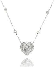 colar prata de coração com zirconias cristais baguete e banho de rodio semi joias sofisticadas