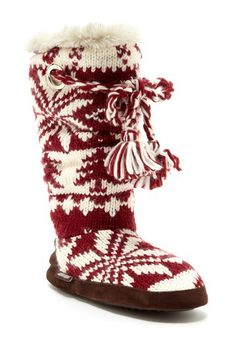 Grace Braided Tassel Knit Slipper Boot - Chianti-Vanilla by MUK LUKS on @HauteLook