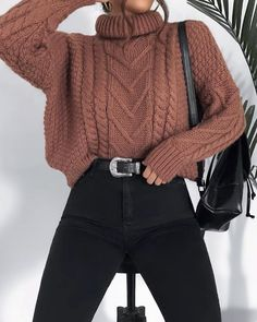 Cute Fall Outfits, Winter Fashion Outfits, Cute Casual Outfits, Fall Winter Outfits, Sweater Fashion, Cute Fashion, Look Fashion, Fashion Spring, Winter Clothes
