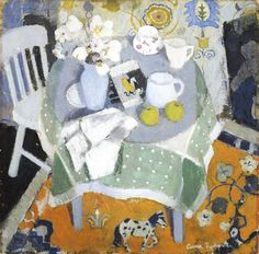 "huariqueje: "" The Chinese Rug - Anne Redpath, c. 1944 Scottish, Oil on Board, 76 x 76 cm "" Still Life Art, Japanese Prints, Painting & Drawing, Picasso Drawing, Flower Art, Abstract, Artwork, Scottish Women, Tablescapes"