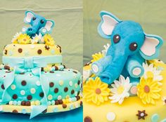 Blue and yellow elephant baby shower cake
