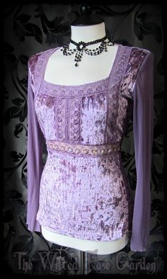 Lavender Lace Crushed Velvet Bell Sleeve Top 10 12 Gypsy Princess Hippy Romantic | THE WILTED ROSE GARDEN on eBay // UK Based // Worldwide Shipping Available