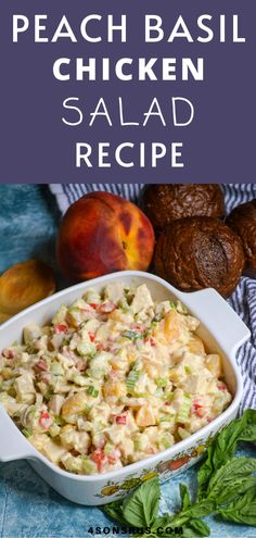 Peach basil chicken salad is the chicken salad recipe you need in your life this summer. Bursting with sweet ripe peaches and summer basil, this twist on traditional recipes is a fresh change that makes lunch a delightful treat. #salad #saladrecipe #recipe