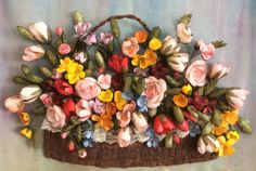 Koza işi / Silk Cocoon Flowers Ribbon Embroidery, Fiber, Floral Wreath, Clay, Flowers, Pictures, Crafts, Photos, Crafting