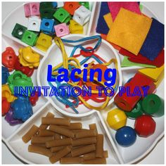 Simple to create lacing tray for open ended play and skill development. Lacing is a wonderful fine motor skill activity. Find all sorts of fun lacing objects around your home or school to practice this skill and maybe even make a necklace!