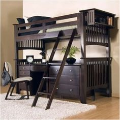 Bunk Bed with desk and looks like the storage could potentially be a dresser as well.