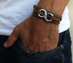 Men's Bracelet Brown Fabric Bracelet With Silver by Galismens