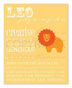 LEO Zodiac Nursery / Kids Room Art Print - 8 x 10. $20.00, via Etsy.