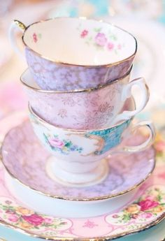 Pink teacups and saucers. So pretty. Remonds me of nature's soft colors!   Aline ♥
