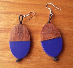 Marimekko Finland Pinta Earrings Blue Resin Brown Rosewood  #Marimekko Marimekko, Finland, Resin, Drop Earrings, Brown, Blue, Jewelry, Jewlery, Jewerly