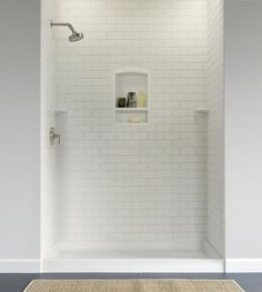 Swanstone Subway Tile Shower Wall Panel x at Menards Shower Wall Kits, Bathroom Shower Panels, Shower Floor, Shower Walls, Bath Shower, Bathtub Tile, Concrete Bathroom, Downstairs Bathroom, Bathroom Faucets