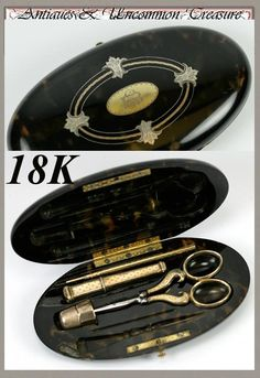 Antique 18K Gold Sewing Tools, French Faux Tortoise Shell Necessaire, from antiques-uncommon-treasure on Ruby Lane