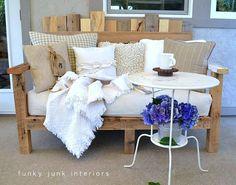 pallet wood outdoor sofa / part of summer garden reveal on FunkyJunkInteriors.net