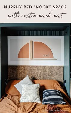 Love this!! This ENTIRE space is DIY. Both the art and the headboard are custom DIY using Minwax products (solid color stain and color wash in barnwood). Art is installed directly on the wall using color block paint and says exhale in a cutout from the arch #arch #colorblock #greencabinets #woodcarving #headboardideas #rust #fallcolors #boho Gorgeous Bedrooms, Guest Bedroom, Bedroom Makeover, Murphy Bed, Neutral Decor, Comfortable Furniture, Diy Furniture Building, Bedroom Color Schemes, Bed Nook