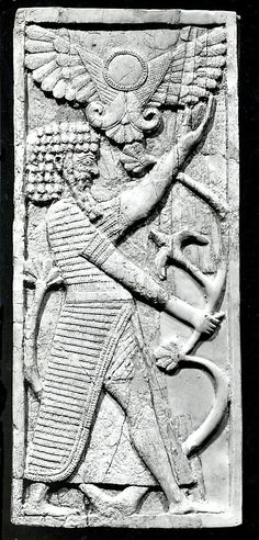 Panel with a male figure grasping a tree; winged sun disc above Period: Neo-Assyrian Date: ca. 8th century B.C. Geography: Mesopotamia, Nimrud (ancient Kalhu) Culture: Assyrian Medium: Ivory.~ This ivory carving would have been one of a group of similar panels used in the back of a chair. It depicts a bearded man, perhaps a warrior, holding the stem of a lotus plant. Above him, a winged disc provides protection.