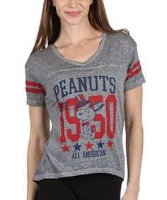 Take a look at this Orange Zone Inc. Heather Gray 'Peanuts' Baseball Tee - Women today!