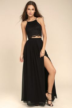The nights you'll never forget begin in the Midnight Memories Black Lace Two-Piece Maxi Dress! Sexy floral lace shapes a wide-cut, crop top, with skinny straps and a lace-up back. Woven, high-waisted maxi skirt with a side slit and a bit of elastic at back completes the set. Hidden back zipper.