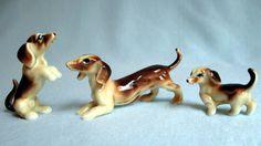 bone china miniature animals | Vintage Miniature Bone China Dachshund Weenie Dog Family Figurine